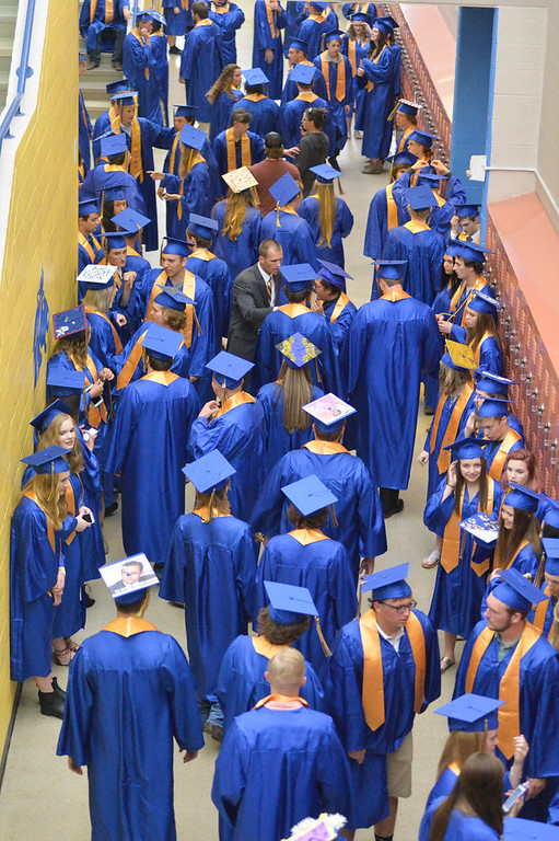 Justin Sheely | The Sheridan Press<br /> Seniors gather at the staging area during the class of 2018 commencement ceremony at Sheridan High School Sunday, May 27, 2018.