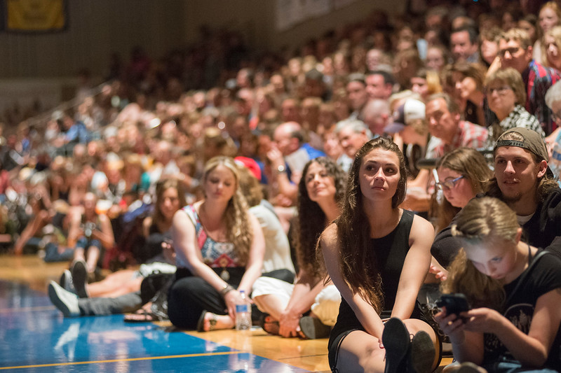 Justin Sheely | The Sheridan Press<br /> Family and friends find room to sit during the class of 2018 commencement ceremony at Sheridan High School Sunday, May 27, 2018.