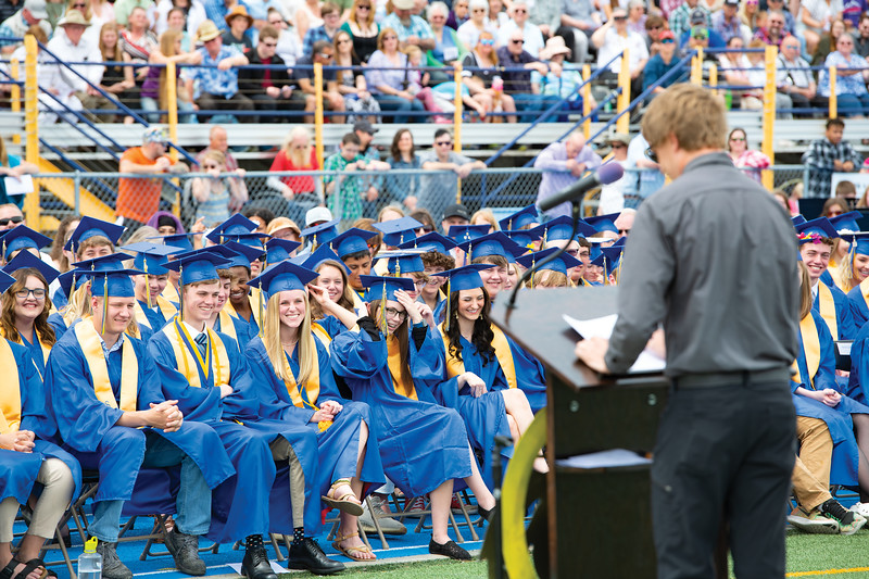 Matthew Gaston | The Sheridan Press<br>The entire graduating class laughs at a joke during speaker Laine Parish's speech at the commencement ceremony at Homer Scott Field Sunday, May 26, 2019.
