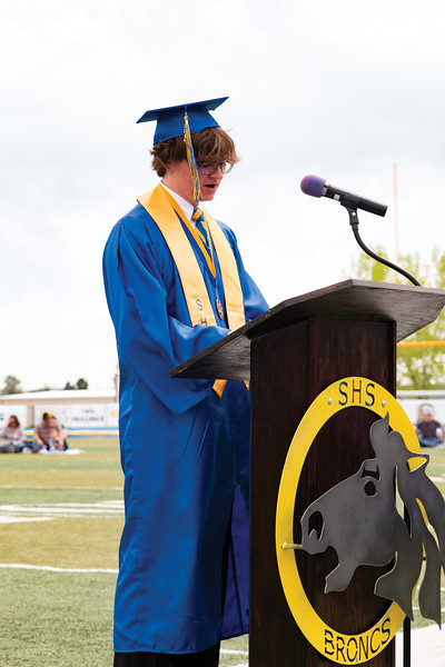 Matthew Gaston | The Sheridan Press<br>Valedictorian William Card speaks about how complicated the world around us has become and his faith in his classmates that they will work to make the world a better place during Sheridan High School's commencement Sunday, May 26, 2019.