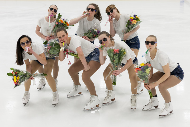 "Tibby McDowell | The Sheridan Press<br /> Figure skaters strike a pose after performing ""Uptown Funk"" during the Sheridan Ice's 9th Annual Ice Show at Whitney Rink at  M&M's Center Tuesday, March 27, 2018."