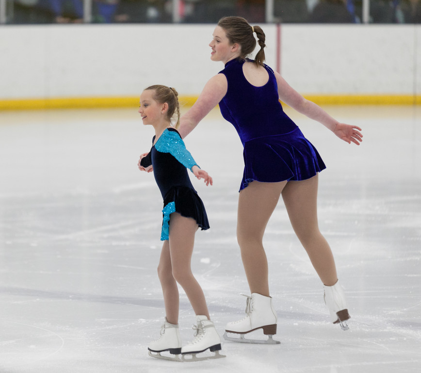 "Tibby McDowell | The Sheridan Press<br /> Marra Donahue, left, and Gennah Deutscher perform a duet to ""Sisters"" during the Sheridan Ice's 9th Annual Ice Show at Whitney Rink at  M&M's Center Tuesday, March 27, 2018."