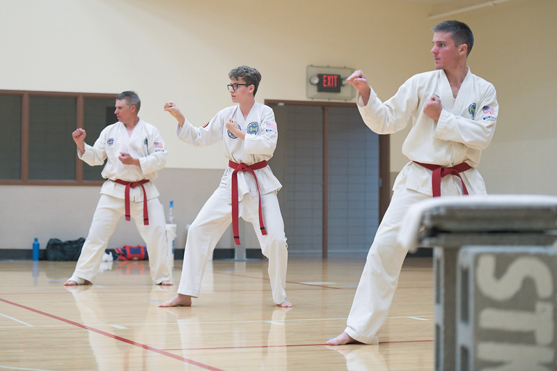 Matthew Gaston | The Sheridan Press <br /> Taekwon-Do students, from left, Paul Juergens, Vincent Naus and Jared Juergens were tested and successfully earned their black belt                                                                               at the Sheridan YMCA Saturday, June 13, 2020.