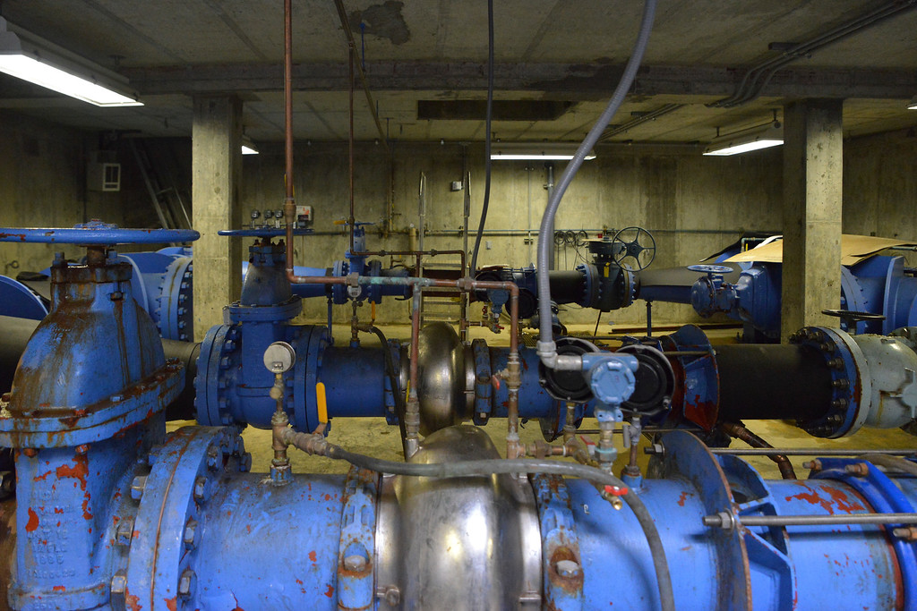 Justin Sheely | The Sheridan Press<br /> Pipes and valves stretch across the vault during the cutting ceremony at the Beckton Hall hydropower facility Thursday, April 5, 2018. The hydropower station will generate enough electricity to power an estimated 100 homes.