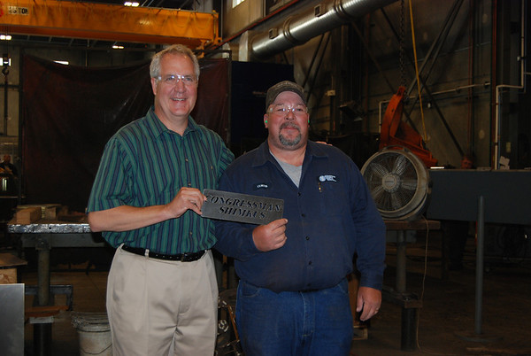 U.S. Rep. John Shimkus was at Magnum Steels Works Inc. on Thursday and was presented with a steel nameplate. More on Shimkus' tour of the facility will be in Friday's Register-News.
