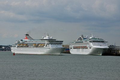 BALMORAL and DAWN PRINCESS taken from Hythe Pier on 12 July 2014