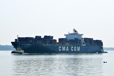 CMA CGM STRAUSS taken from Hythe Pier on 14 July 2013