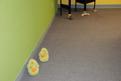 Vicky Tysor put a trail of shoes throughout the office to lead us to the party room