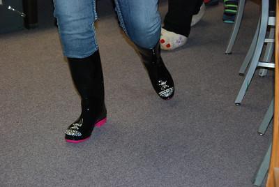 Sarah Bernhagen's sparkly boots. She did this herself.