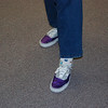 "Theresa Cassiday's purple and silver ""football mom"" shoes."