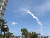 The smoke trail begins to disperse, 4 minutes after launch.
