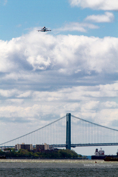 Enterprise Space Shuttle on its initial approach over the Verrazano Bridge for a NJ fly-by.
