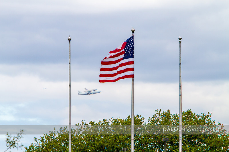 Space Shuttle Enterprise flying near Liberty State Park, NJ.