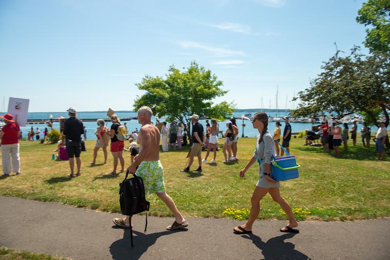 Tourist walking through