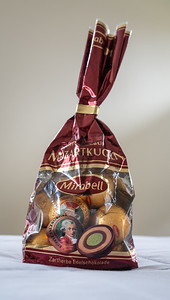 Mozartkugel (Mozart Balls) are pistachio marzipan and nougat, covered with dark chocolate...and utterly decadent