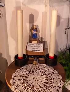 Donation box for purchasing altar candles