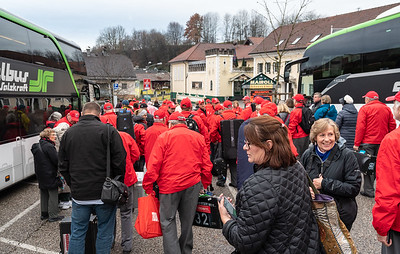 Gathering to walk through Oberndorf