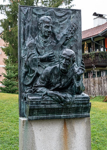 "Sculpture of ""Silent Night"" composer Franz Gruber and lyricist Fr. Josef Mohr"