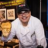 Exhibitor with 3D printed Stan Lee Pancake