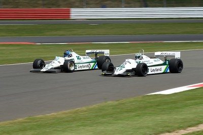 1982 Williams FW07B and 1980 Williams FW07 Andrew Haddon and Mike Wrigley Silverstone Classic 2015