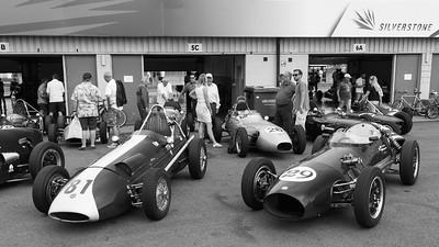 Historic Formula Junior Pits - featuring 1959 Sadler FJ and a 1959 Moorland MK1 - Silverstone Classic 2018