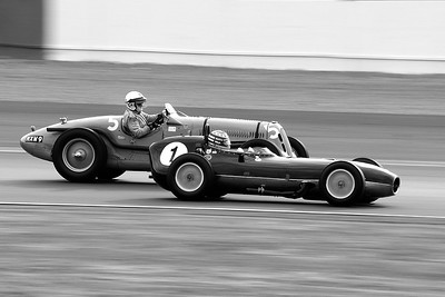 Silverstone Classic 2014 - 1959 Lotus 368 in front of a 1937 Talbot Lago T26SS BW