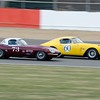 Silverstone Classic 2014 at Club -1960 Ferrari 250 GT Berlinetta ovetakes 1961 Jaguar E-Type