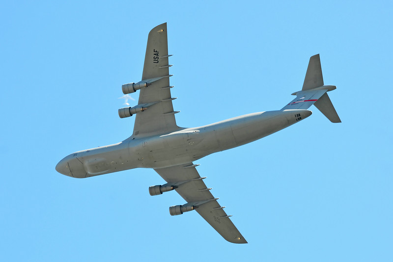 C-5 Galaxy with jet between engines