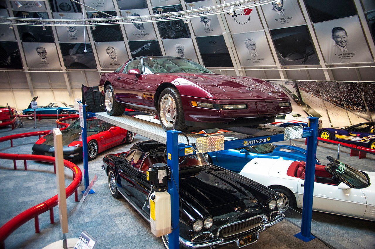 """Pictured you can see the 1993 """"Ruby Red"""", 1962 Black, 1992 1 Millionth, 2009 Blue Devil and 2001 Mallet Hammer.  Permission given to use this image with credit to the National Corvette Museum"""