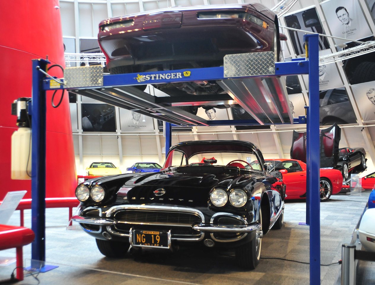 Pictured you can see the 1993 Ruby Red, 1962 Black, 2013 Mallet Hammer and 1993 ZR-1 Spyder.  Permission given to use this image with credit to the National Corvette Museum