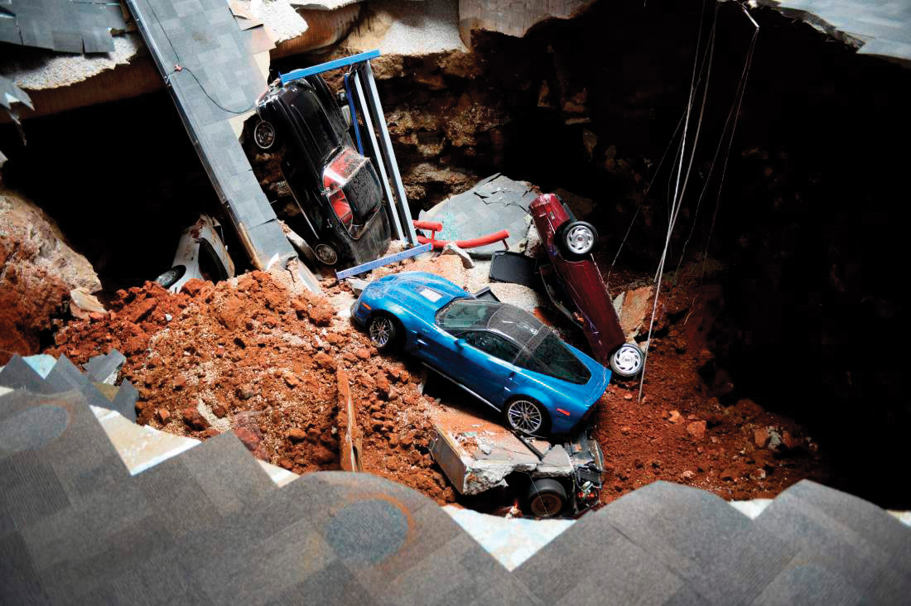 Overhead view of the Skydome Sinkhole  Permission given to use this image with credit to the National Corvette Museum