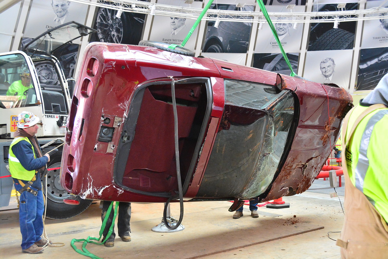 Pulling up the 1993 40th Anniversary Ruby Red   Permission given to use this image with credit to the National Corvette Museum