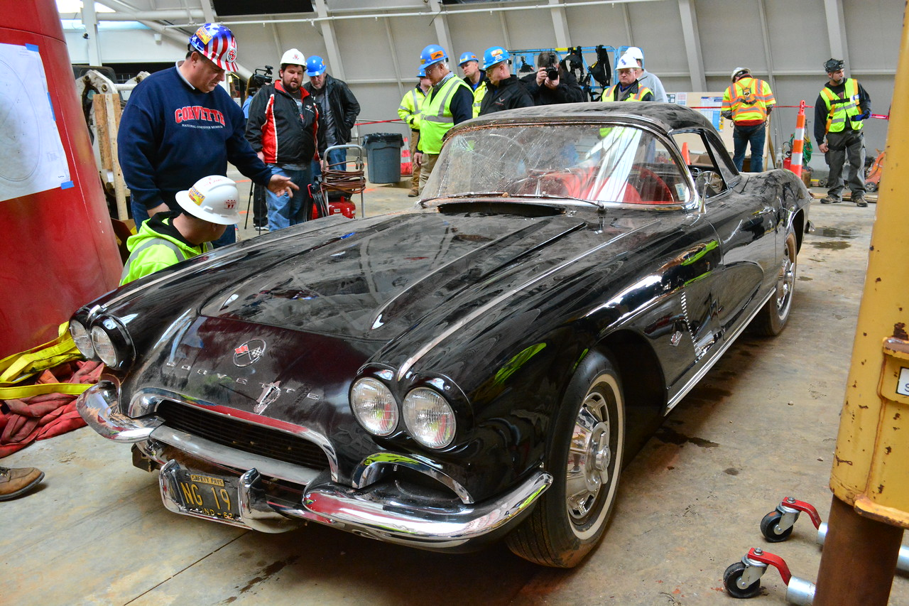 1962 Corvette after being extracted from the Sinkhole. Permission given to use this image with credit to the National Corvette Museum.