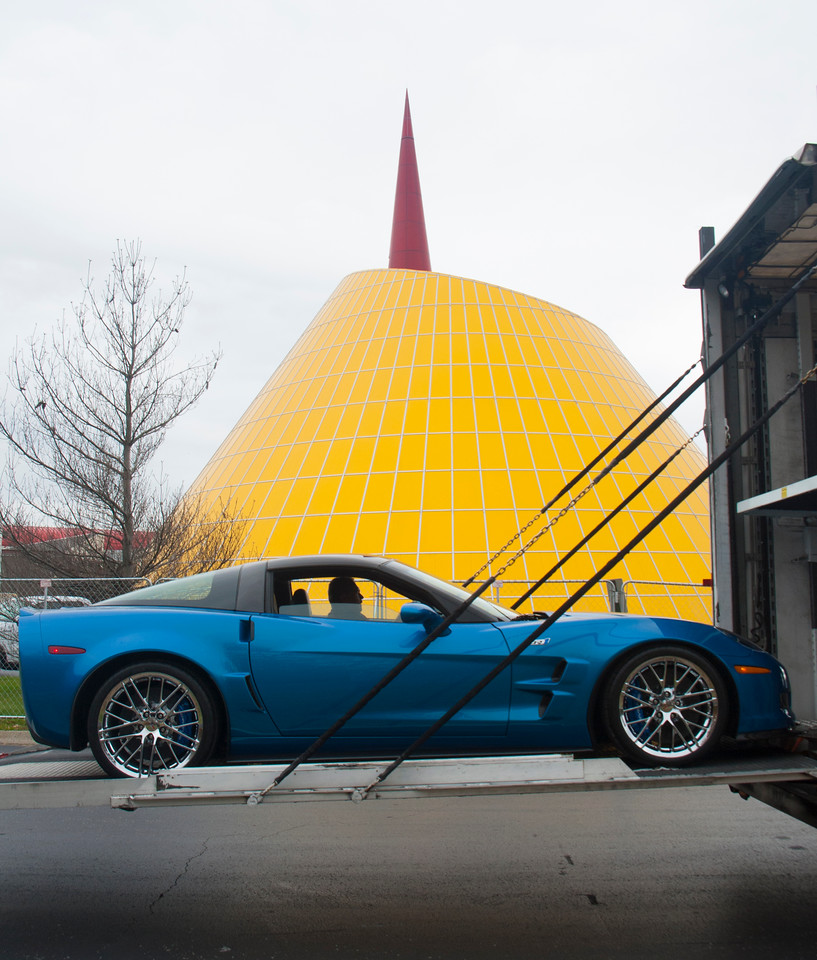 """The 2009 ZR1 """"Blue Devil"""" Corvette is returned to the National Corvette Museum on Tuesday, November 11, 2014. The car was restored thanks to General Motors."""