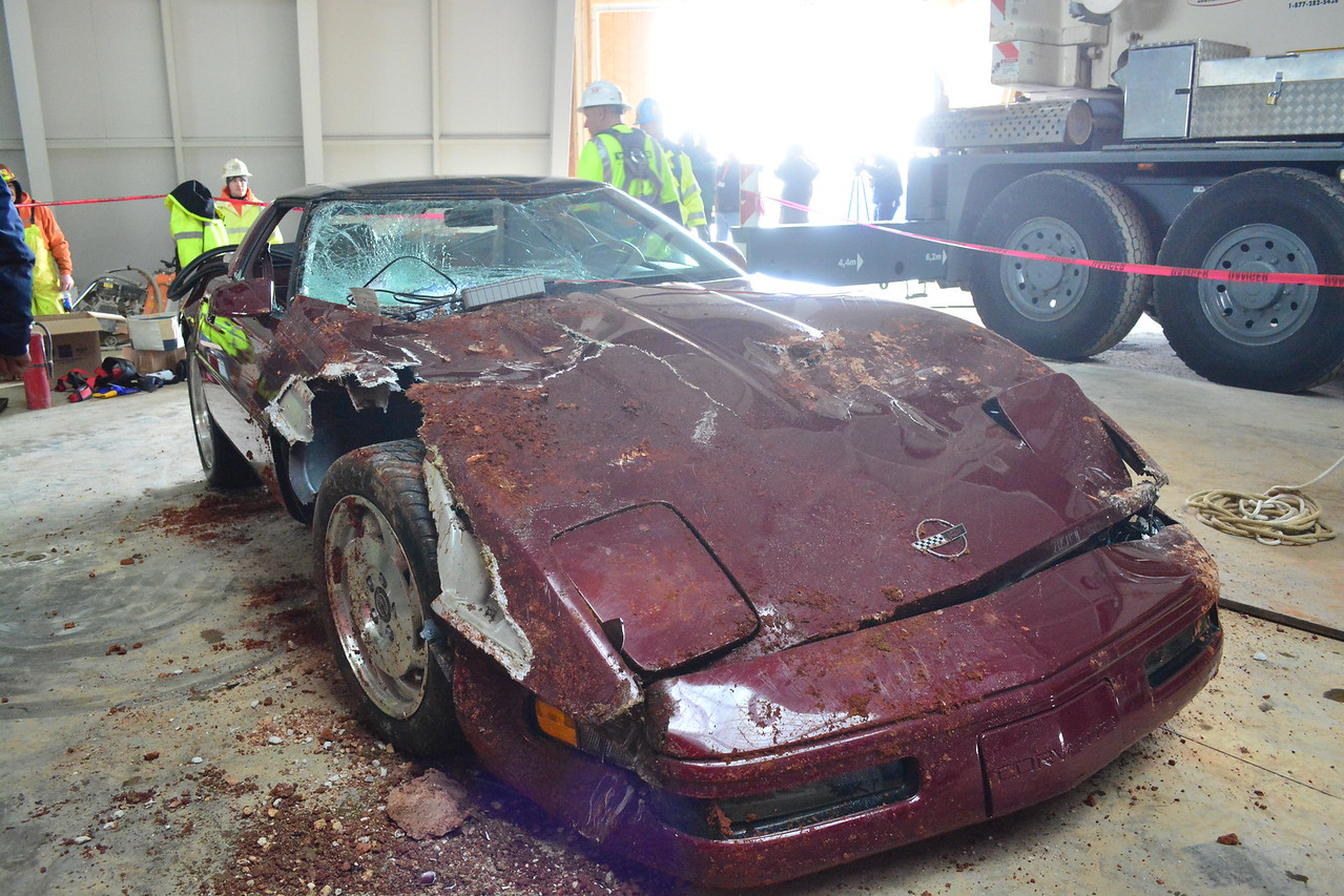 Recovered 1993 40th Anniversary Ruby Red   Permission given to use this image with credit to the National Corvette Museum