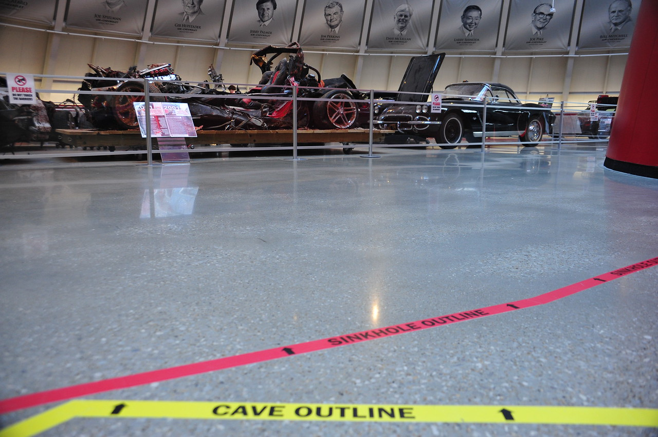 Outlines on the floor of the Skydome indicate where the sinkhole collapse was, and where the cave is.