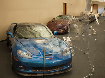 "Four of the ""Great 8"" displayed ""as is"" in the Museum's Exhibit Hall, now through August 3, 2014. Permission granted for media use with credit to the National Corvette Museum."