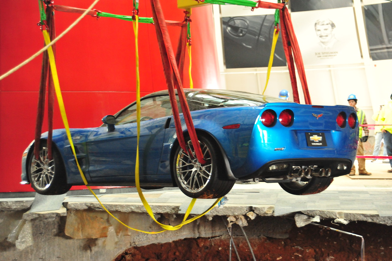"""2009 """"Blue Devil"""" ZR1 being pulled up from the sinkhole  Permission given to use this image with credit to the National Corvette Museum"""