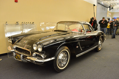 1962 Tuxedo Black Convertible with a Hard Top on display in the National Corvette Museum's Exhibit Hall.   Permission given to use this image with credit to the National Corvette Museum.