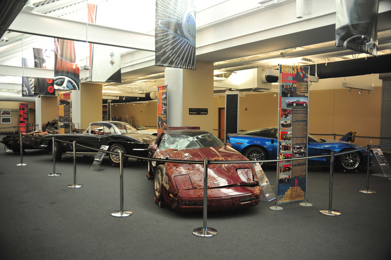 """The Great 8 exhibit is going on through August, with the sinkhole Corvettes on display """"as is."""""""