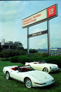 Historic photo of the 1 Millionth Corvette.  Permission given to use this image with credit to the National Corvette Museum