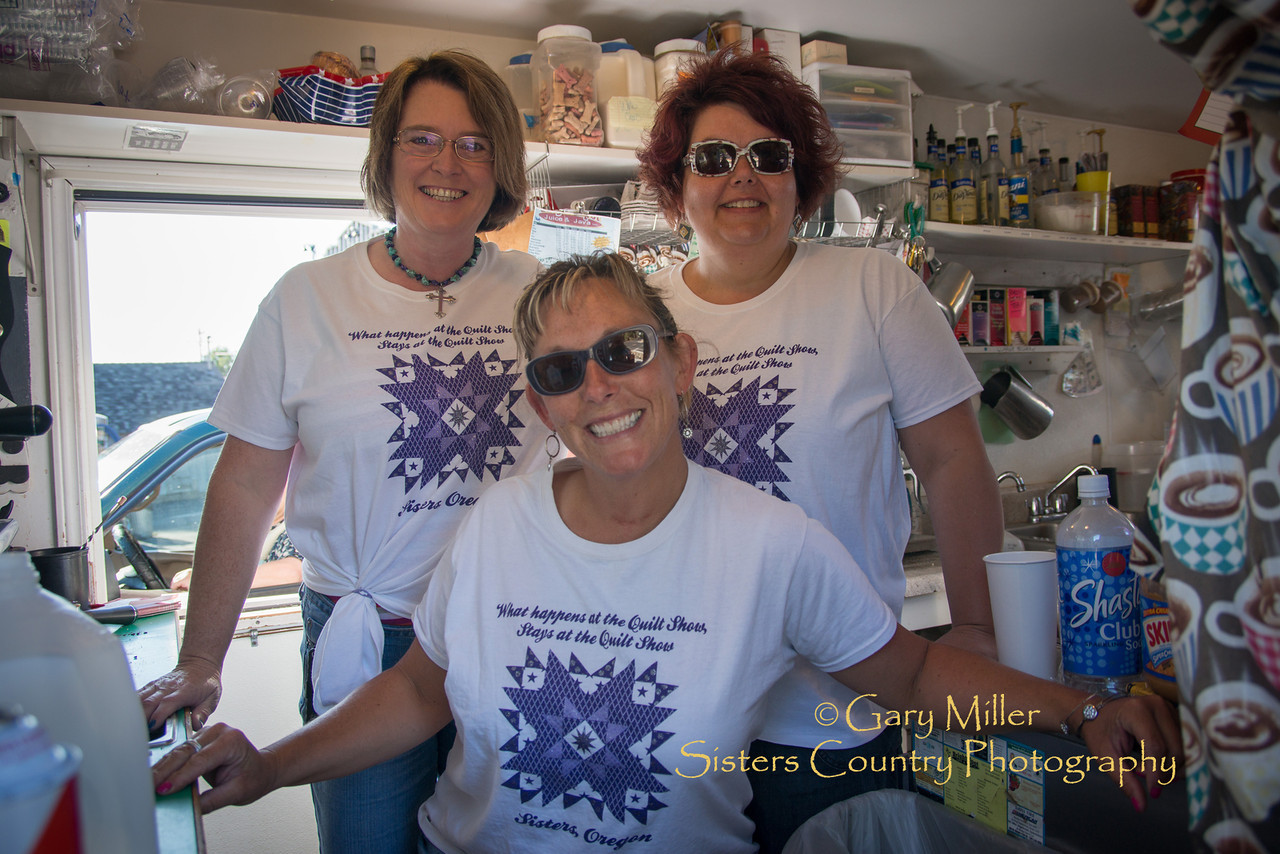 The Bright Spot Coffee Crew at the 2013 Sisters Outdoor Quilt Show - The largest outdoor quilt show in the world with over 1,300 quilts on display and was held in Sisters, Oregon on July 13, 2013 - Copyright © 2013 Gary N. Miller, Sisters Country Photography