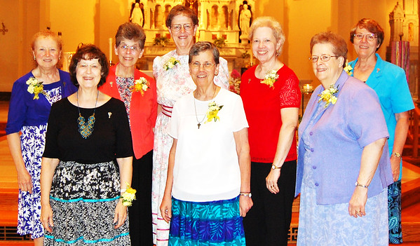 Submitted photo<br /> Celebrating a half century with the Sisters of St. Francis are (front row from left) Sisters Rosemary Miller, Barbara Leonhard and Mary Claire Hausfeld; (back row) Sisters Delouise Menges, Catherine Schneider, Jerilyn Fuhrmann, Evelyn Forthofer and Ann Vonder Meulen.