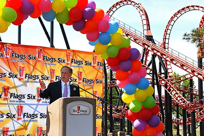 05-09-13  --skyscreamer 07--  Six Flags Over Georgia Park President Dale Kaetzel welcomes guests to the preview event for the newest ride, SkyScreamer, on Thursday morning.  The ride is now the tallest ride in the 45 year history of the park and rises four stories higher than the ride Goliath.  STAFF/LAURA MOON.