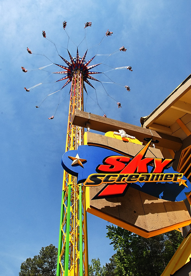 05-09-13  --skyscreamer 08--  The SkyScreamer takes 32 riders up at a time to 24 stories high at a speed of 40 miles per hour while spinning in a 98 foot circle.  The newest ride is now the tallest ride in the 45 year history of the park and rises four stories higher than the ride Goliath.  STAFF/LAURA MOON.