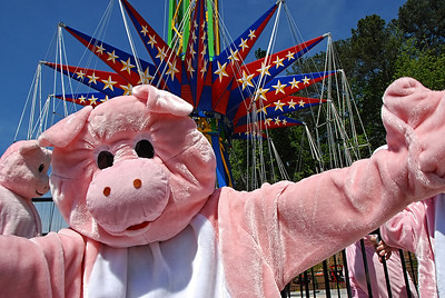 "05-09-13  --skyscreamer 11--  Six Flags Over Georgia brings out ""pigs"" to prove that they can fly as they ride the new SkyScreamer swings, the tallest ride in the 45 year history of the theme park on Thursday morning.  STAFF/LAURA MOON."