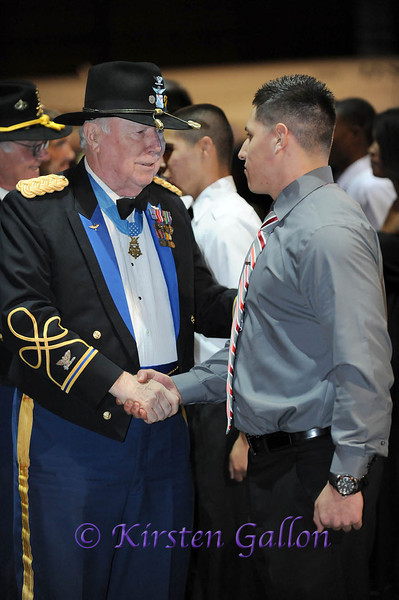 SKY BALL 2013 <br /> Medal of Honor recipient Colonel Bruce Crandall, U.S. Army Ret., congratulates one of the new recruits after the swearing in ceremony.