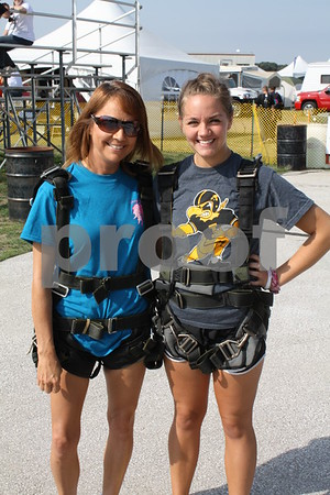 Cathy  and Nicole Prelip ready to jump