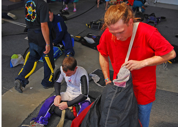 SKYDIVE01.JPG Joel Steverson packs his parachute after an attempt to break the world record for the largest formation skydive at the Longmont Vance Brand Municipal Airport on September 11, 2009. Seventy six skydivers jumped today as part of that world record attempt.