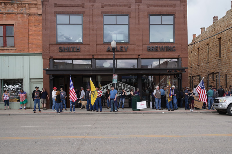 Matthew Gaston   The Sheridan Press<br>At 11:45 a.m. protesters began to gather for a freedom rally at Smith Alley Brewing Company Friday, May 15, 2020. Tiffany McCormick, the owner of Smith Alley, organized the rally in response to a warning from the Sheridan Police Department concerning the brewery's non-compliance with local variances.